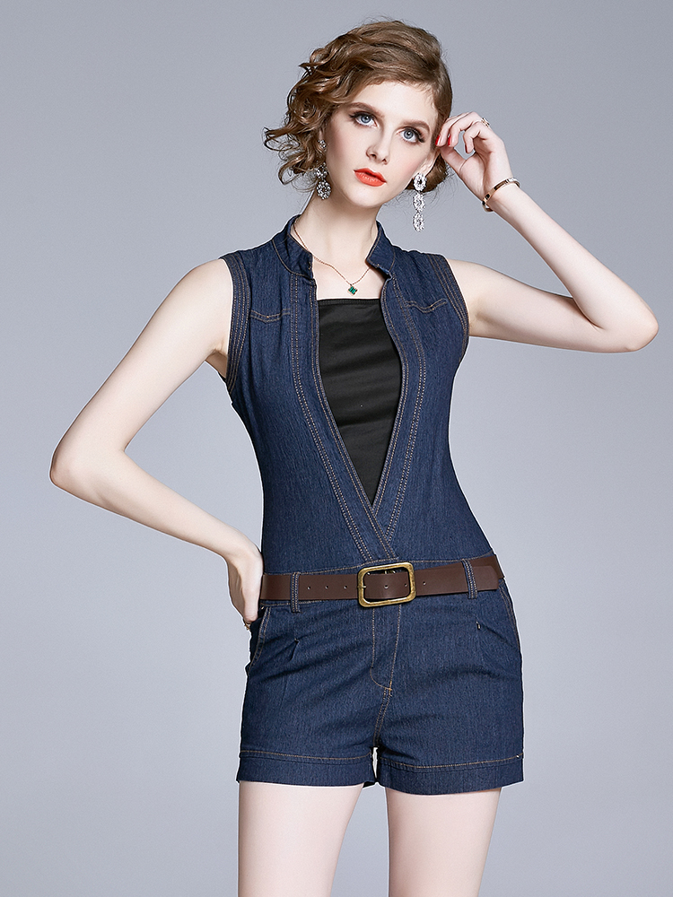 European Style Show Waist Leisure Denim Dress