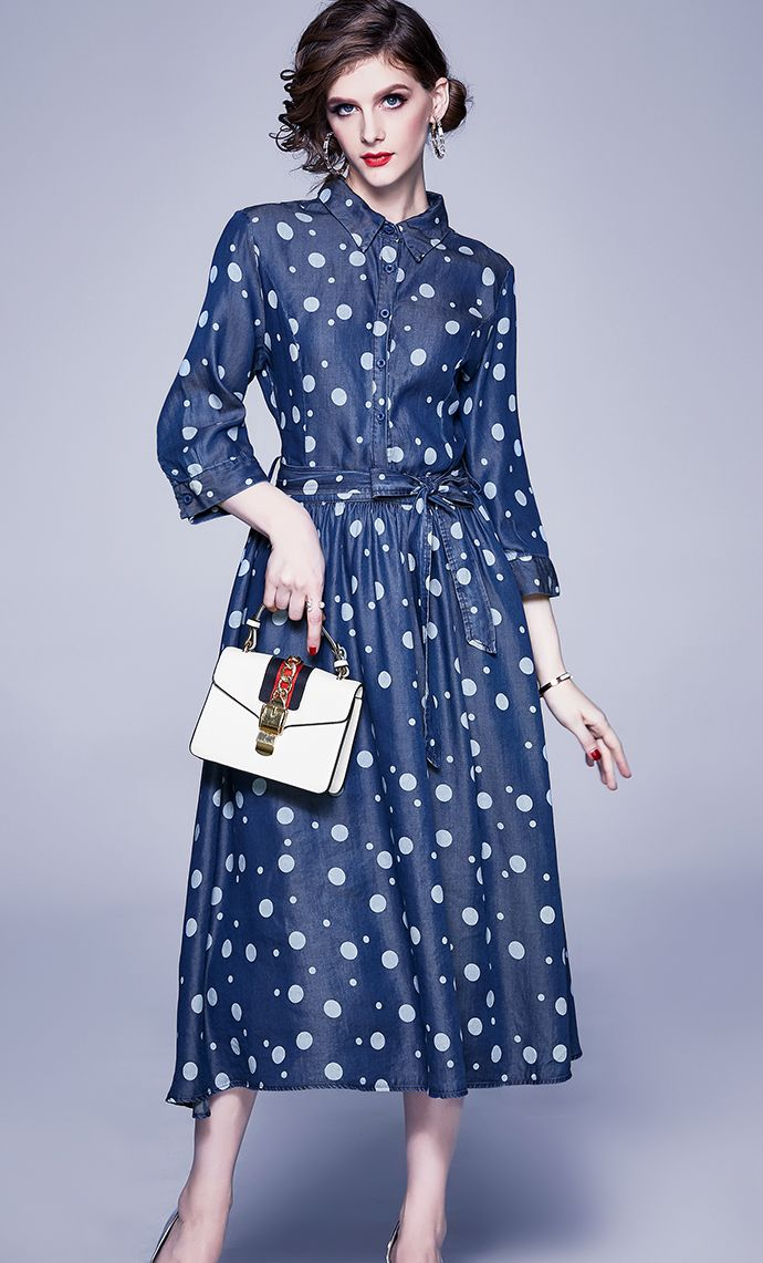 European Style Wave Point Printing Dress