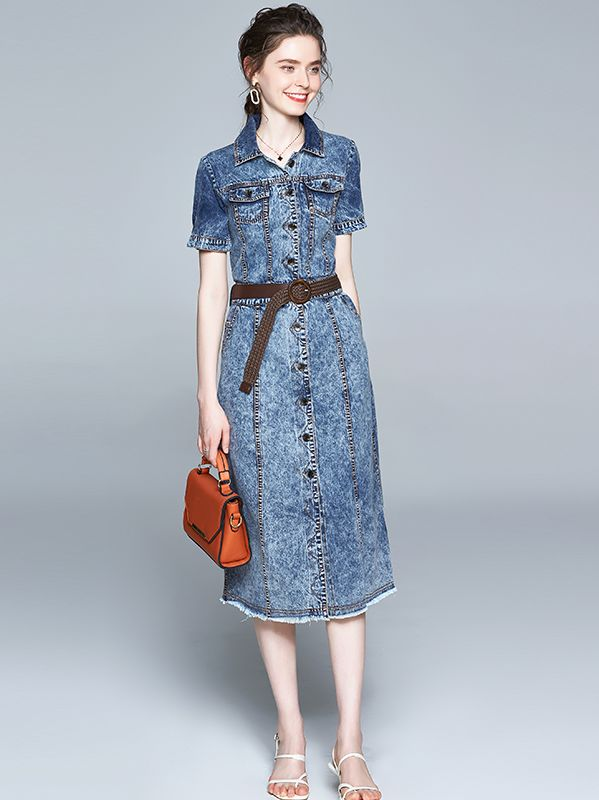 For Sale Pure Color Fashion Show Waist Denim Dress