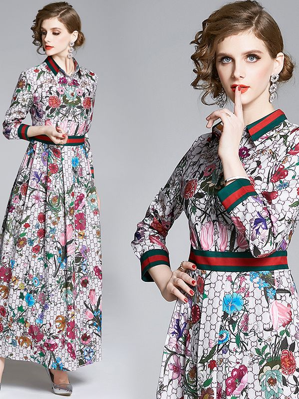 Out Let Doll Collars Printing Fashion Nobel Fashion Dress