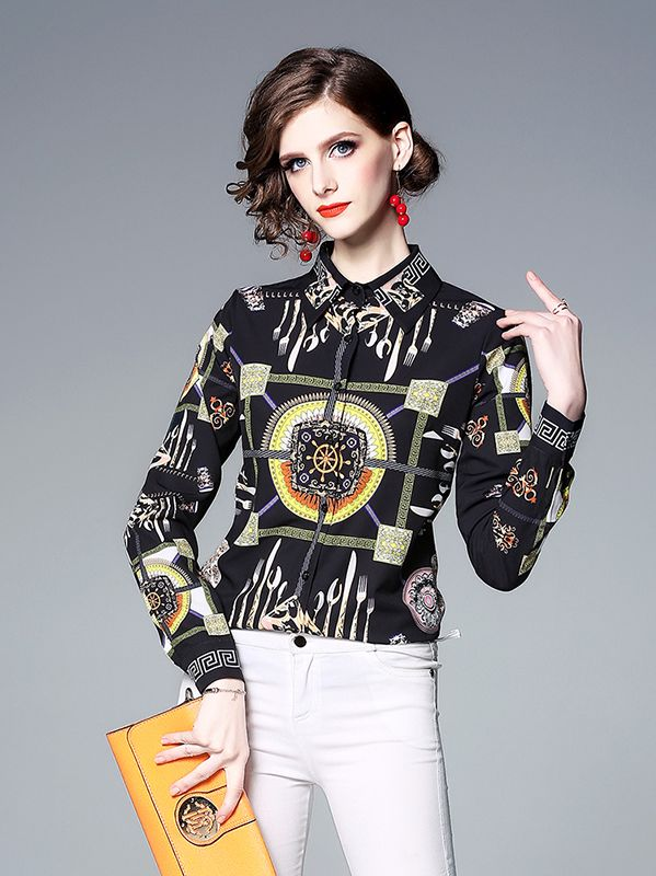 On Sale Stand Collars Printing Fashion Blouse