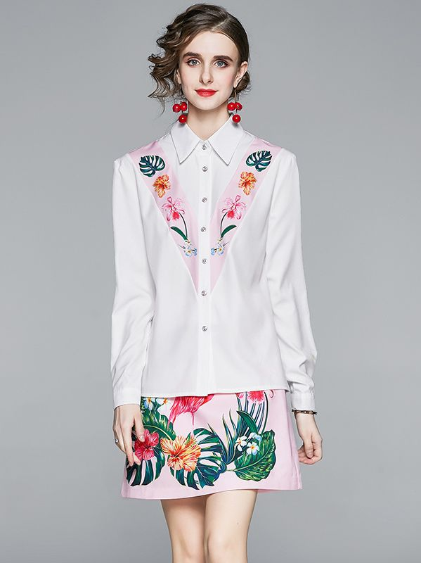 On Sale Stand Collars Printing Fashion Blouse +Printing Fashion Skirt