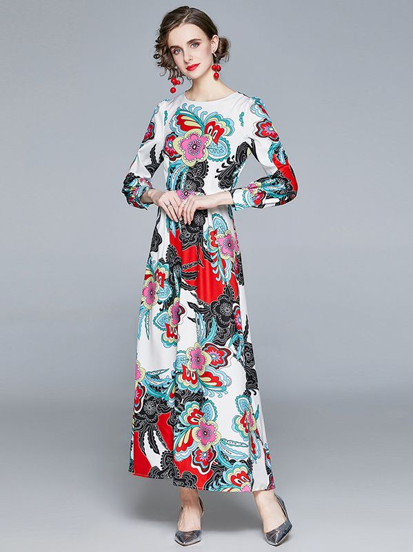 On Sale Round  Collars Printing Fashion Maxi Dress