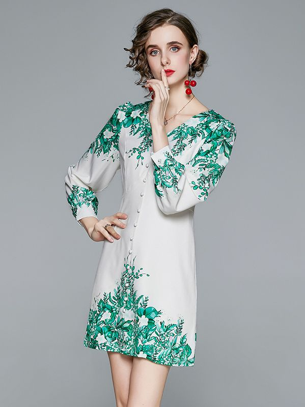 Out Let Round  Collars Printing Dress