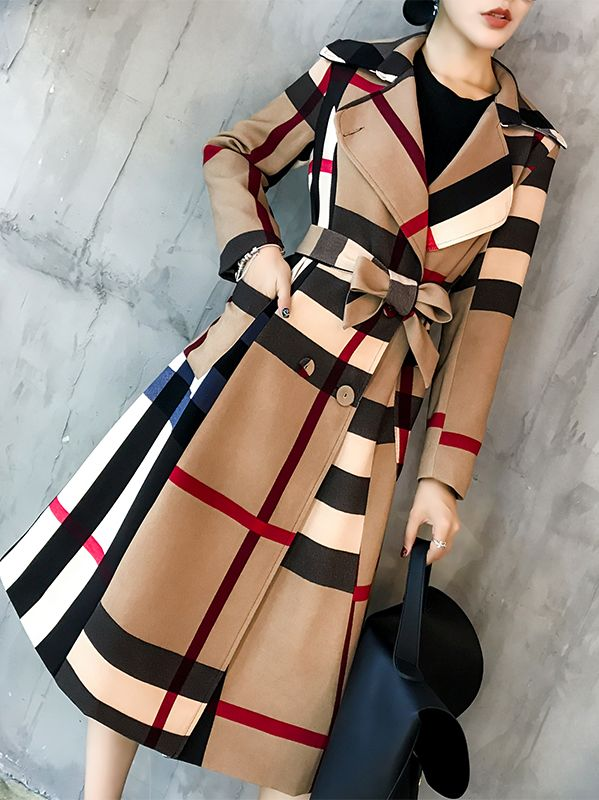 Out Let Grid Printing Fashion Show Waist Long Coat