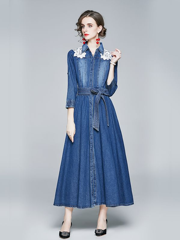 For Sale   Stand   Collars Show Waist Slim  Denim Dress