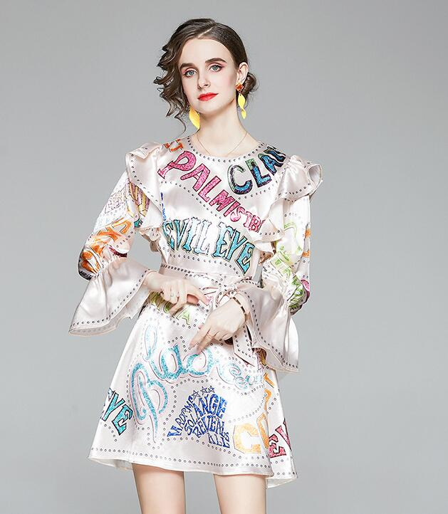 On Sale Horn Sleeve  Printing Letter  Slim  Dress