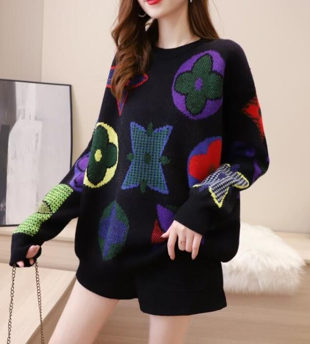 On Sale Horn Sleeve  Printing Letter  Slim  Sweater