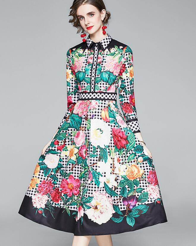 On Sale National Style Printing Slim Dress