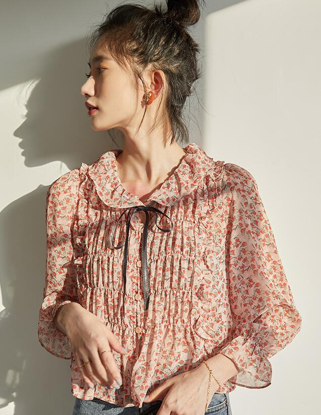 On Sale Flower Printing  Fashion Chiffon Top