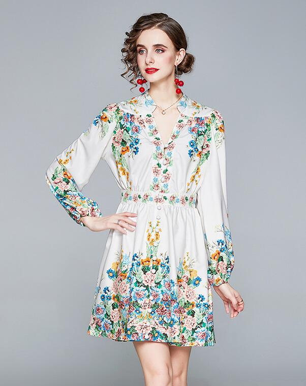 For Sale Stand Collars Flower Fashion Dress