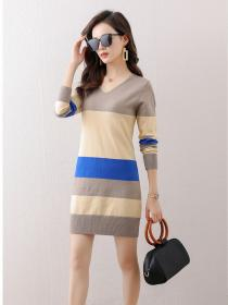New style Stripes Knitted Dress