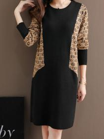 Winter fashion Loose-fittinf Knitted Dress
