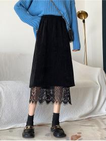 Sweet Leisure style Lace Knitted Long skirt