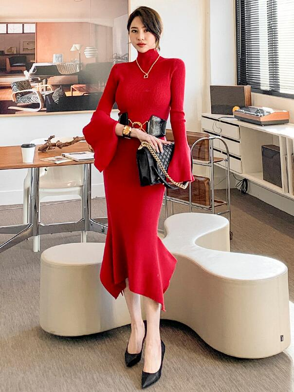 On Sale Horn Sleeve Pure Color Slim Dress