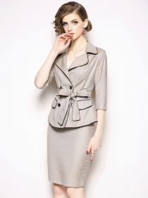 Outlet fashion style OL Blazer+Skirt Two pieces suits