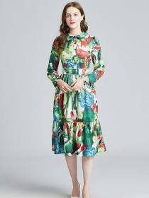 Spring fashion Flower print High waist Long sleeve Dress