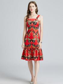Wholesale Colorful butterfly print Slim Fishtail dress