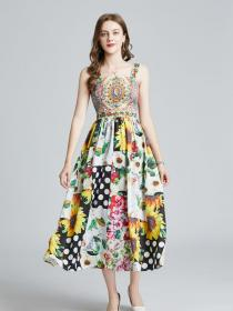 Wholesale Colorful Flower  print Slim High waist dress