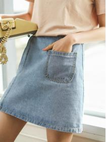 New arrival Summer fashion Embroidery Denim Mid-length skirt