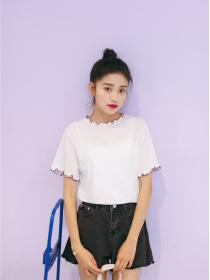 New arrival Summer fashion Falbala collar T-shirt