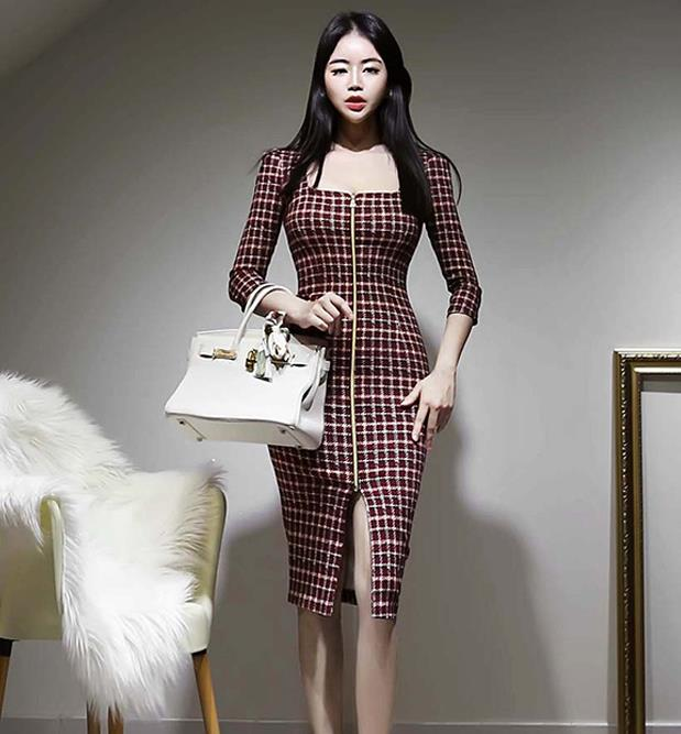 On  Sale Hollow Out Slim Grid Dress