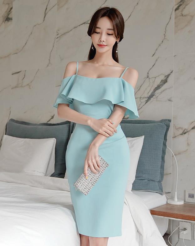 Korean Style Off Collars Sexy Show Waist Dress