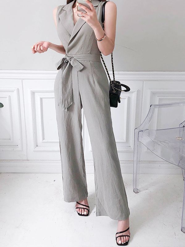 Korean Style Off Collars Sexy Show Waist Jumpsuits
