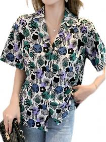 Fashion style Sunproof Colourful print Blouse