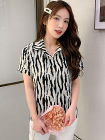 Summer fashion Chiffon Stripes   Matching Korean Blouse