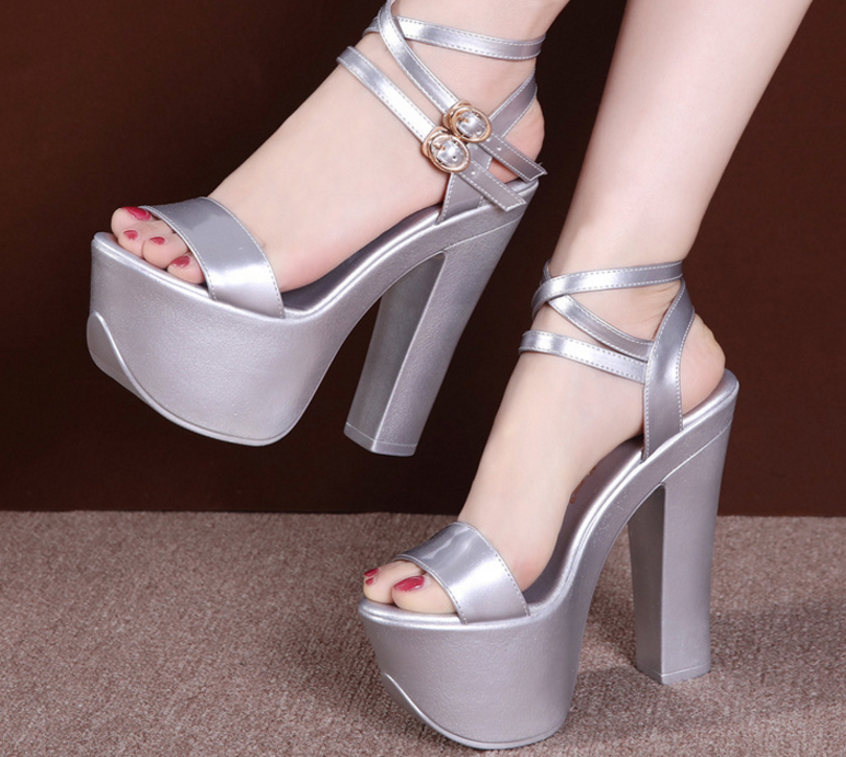 Outlet Sexy Poe-toe Thick Flatform High heels Sandal