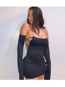 Outlet hot style Low-cut Sexy Hip-full Straps Dress