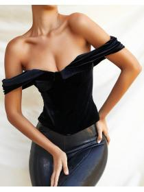 Outlet hot style Off shoulder Velvet Backless Breast Top