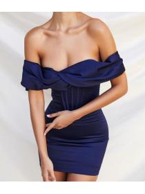 Outlet hot style Single Shoulder Quality Plain blue Dress