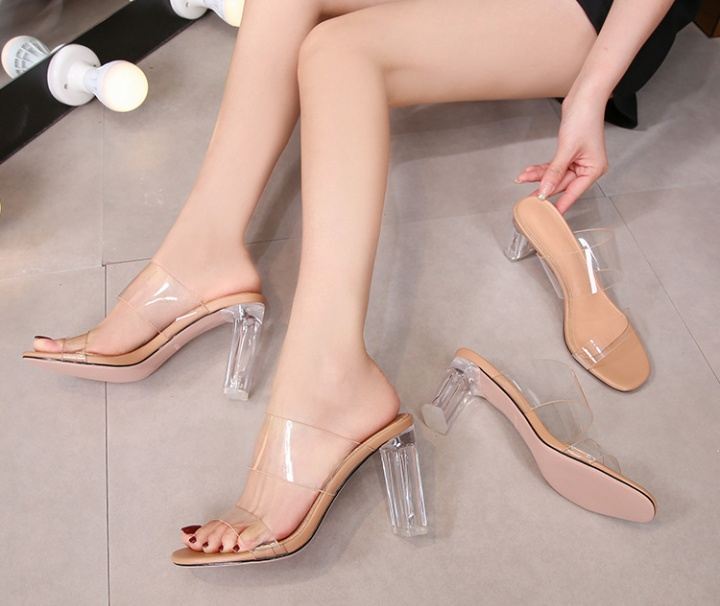 High-heeled wide fashion summer round slippers for women