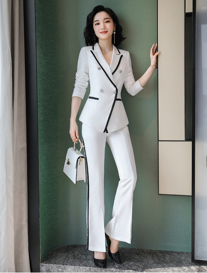 Profession white uniform host business suit 2pcs set