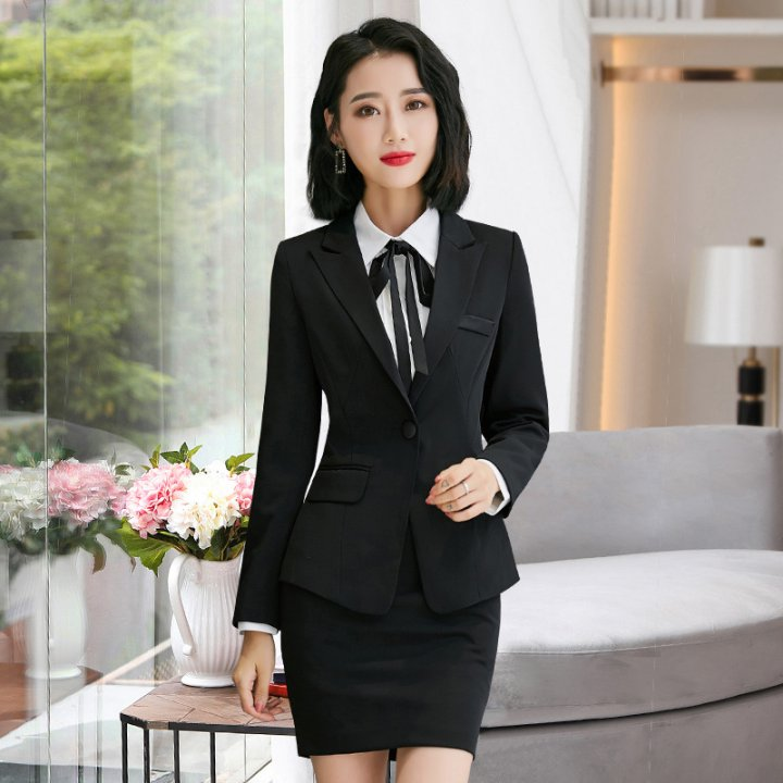 Pure profession skirt Korean style slim business suit 3pcs set
